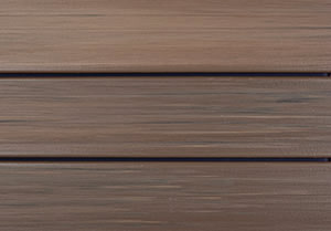 Walnut colored capped composite decking
